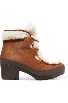 TORY BURCH Berkley calf hair and shearling ankle boots