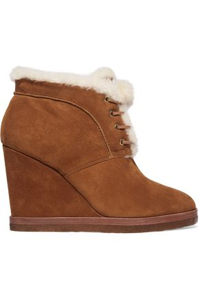 MICHAEL KORS COLLECTION Chadwick shearling-trimmed suede wedge boots
