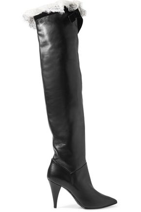 PHILOSOPHY di LORENZO SERAFINI Lace and velvet-trimmed leather knee boots