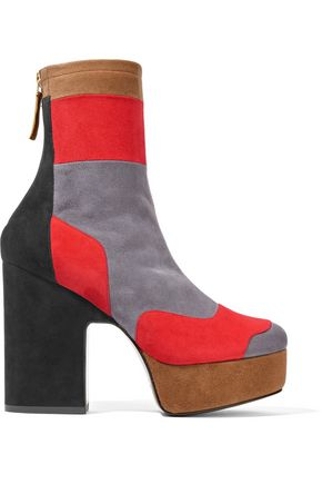PIERRE HARDY Ziggy patchwork stretch-suede platform ankle boots
