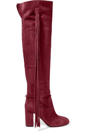 AQUAZZURA Tasseled suede over-the-knee boots