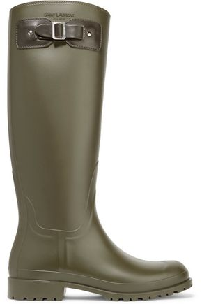 SAINT LAURENT Festival 25 leather-trimmed rubber rain boots