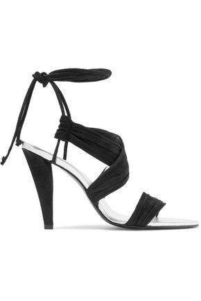 ROGER VIVIER Lace-up gathered suede sandals