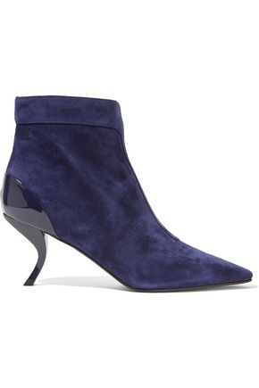 ROGER VIVIER Patent leather-trimmed suede ankle boots