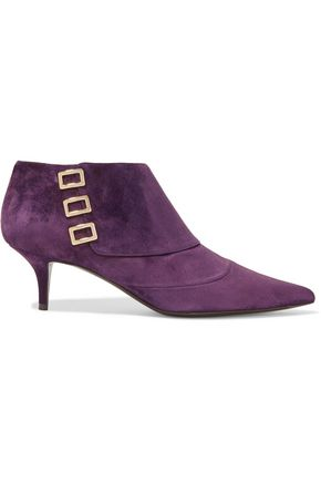WOMAN EMBELLISHED SUEDE ANKLE BOOTS PURPLE