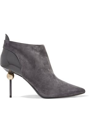 ROGER VIVIER Patent leather-trimmed embellished suede ankle boots