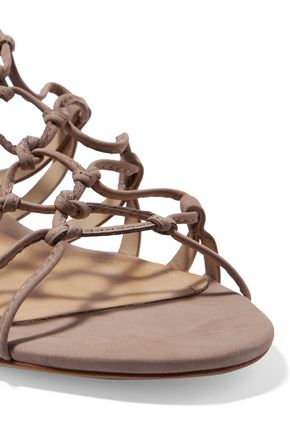 SCHUTZ Nitty lace-up nubuck sandals