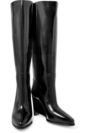 MAISON MARGIELA Leather wedge knee boots