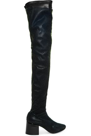 MM6 MAISON MARGIELA Velvet-mesh and leather thigh boots