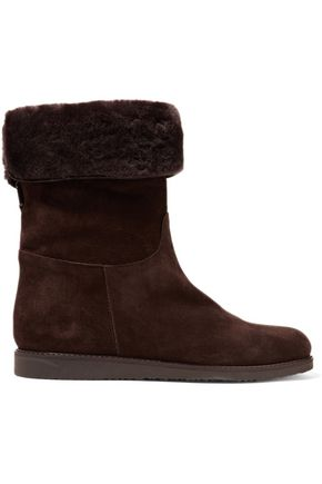 SALVATORE FERRAGAMO Shearling-lined suede ankle boots