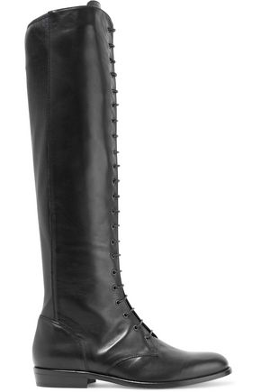 Belstaff WOMAN HEPWORTH LACE-UP LEATHER KNEE BOOTS BLACK