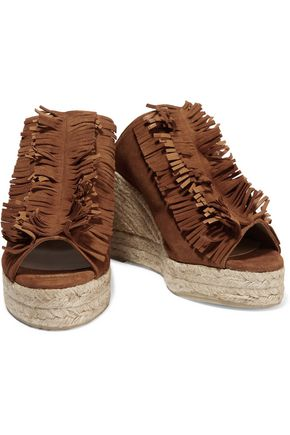 CASTAÑER Bakana fringed suede wedge sandals