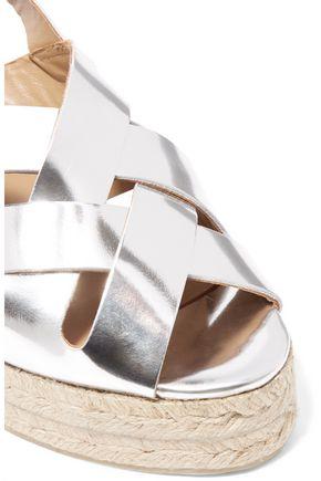 CASTAÑER Bisba metallic leather wedge sandals