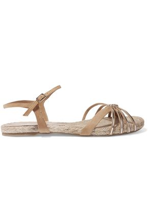 CASTAÑER Metallic leather and suede sandals