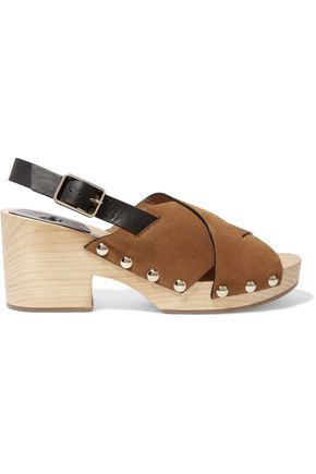 CASTAÑER Zane studded leather and suede clogs
