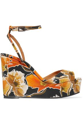CASTAÑER Zula printed canvas wedge sandals