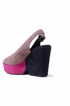 ROBERT CLERGERIE Color-block suede platform sandals