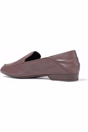 ROBERT CLERGERIE Suede-paneled leather slippers