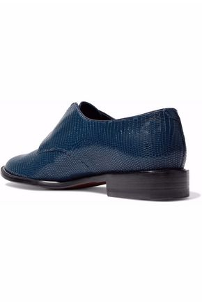 ROBERT CLERGERIE Lizard-effect leather brogues