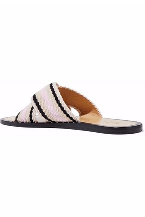 RAG & BONE Keaton striped woven coated-cotton slides