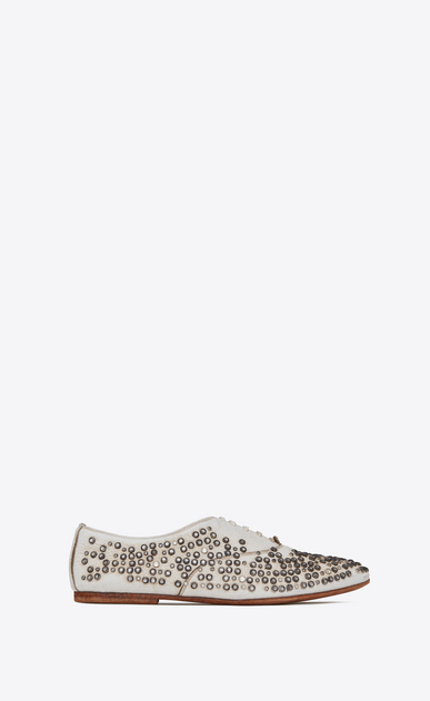 SAINT LAURENT Classic Masculine Shapes Woman rive gauche studded brogues in worn-look white leather a_V4