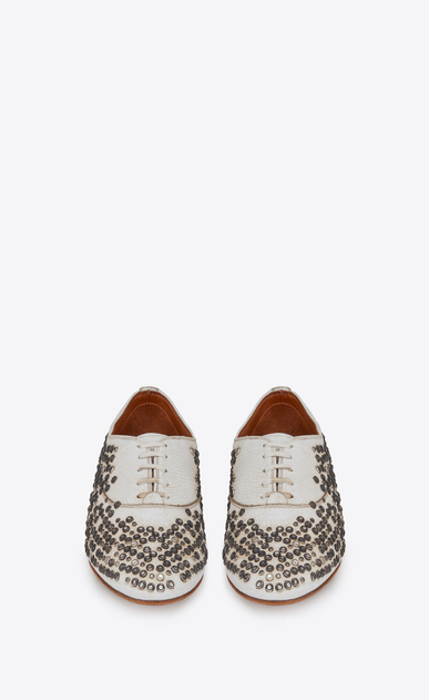 SAINT LAURENT Classic Masculine Shapes Woman rive gauche studded brogues in worn-look white leather b_V4