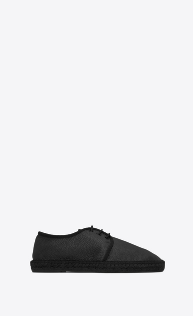 SAINT LAURENT Casual Shoes U Laced espadrille in grained black leather  a_V4