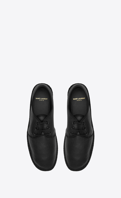 SAINT LAURENT Casual Shoes U Laced espadrille in grained black leather  b_V4