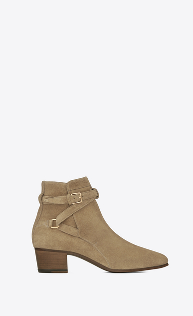 SAINT LAURENT Flat Booties Woman signature blake 40 jodhpur boot in beige suede a_V4