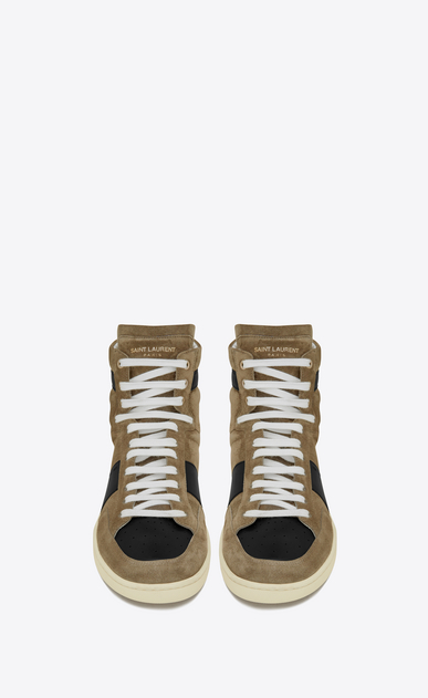 SAINT LAURENT SL/10H Man signature court sl/10h sneakers in light tobacco suede and black leather b_V4