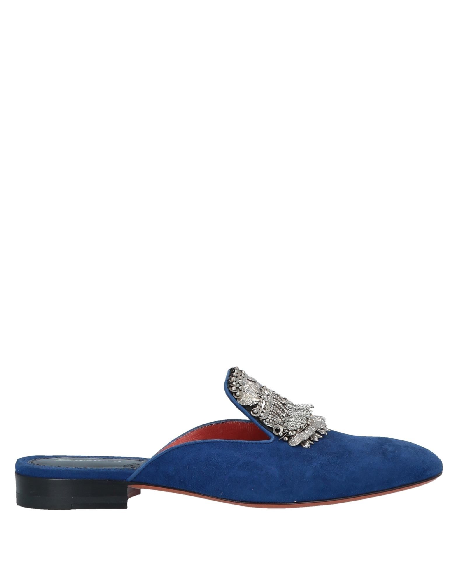 SANTONI Mules. suede effect, sequins, metal applications, solid color, narrow toeline, square heel, leather lining, leather sole, contains non-textile parts of animal origin, mules, large sized. Soft Leather