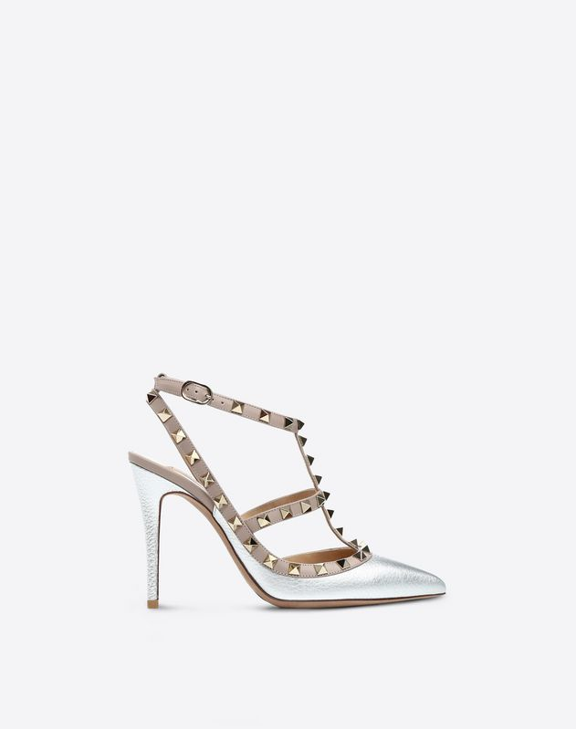 Rockstud metallic grainy calfskin ankle strap pump 100 mm