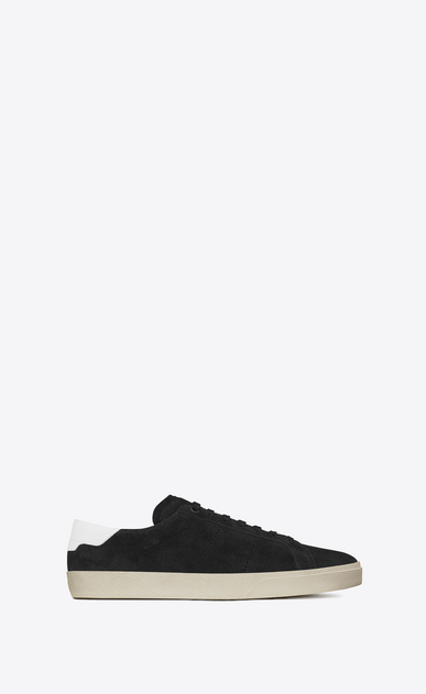 SAINT LAURENT SL/06 U signature court classic sl/06 sneaker in black suede and off white leather a_V4