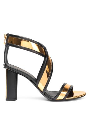 BALMAIN Smooth and mirrored-leather sandals