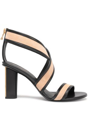 BALMAIN Two-tone suede and leather sandals