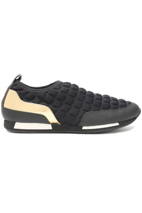 BALMAIN Quilted neoprene and leather slip-on sneakers
