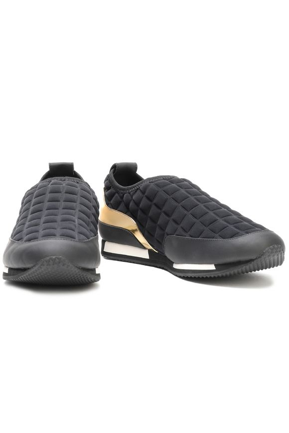 Quilted neoprene and leather slip-on sneakers | BALMAIN | Sale up to 70% off  | THE OUTNET