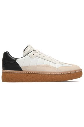 ALEXANDER WANG Suede-paneled quilted leather sneakers