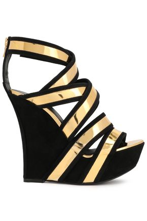BALMAIN Mirrored-leather and suede wedge sandals