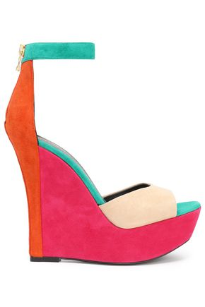 BALMAIN Color-block suede wedge sandals