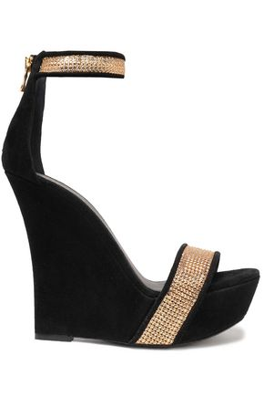 BALMAIN Embellished suede wedge sandals