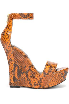 BALMAIN Snake-effect leather wedge sandals