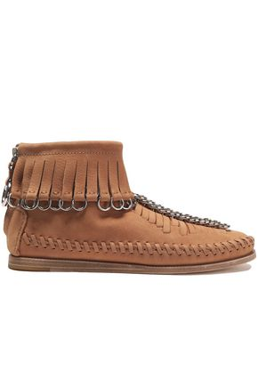 ALEXANDER WANG Fringed embellished suede ankle boots
