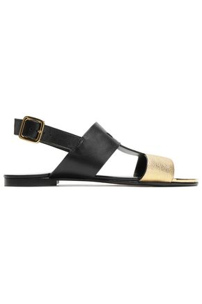 BALMAIN Metallic and matte leather sandals