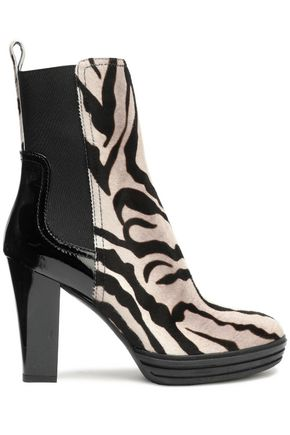 HOGAN Leather-paneled zebra-print calf hair ankle boots