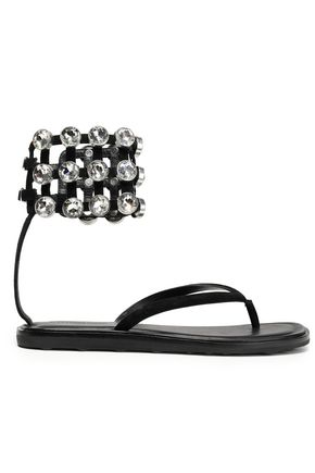 ALEXANDER WANG Crystal-embellished leather sandals
