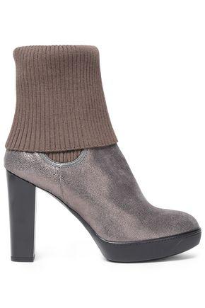 1c419bdae62 Ribbed-paneled metallic textured-leather ankle boots | HOGAN | Sale ...
