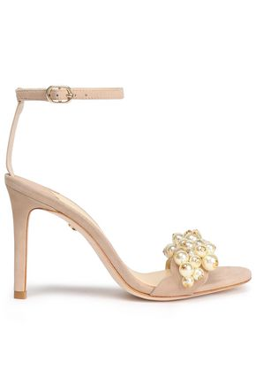 ISA TAPIA Faux pearl-embellished suede sandals