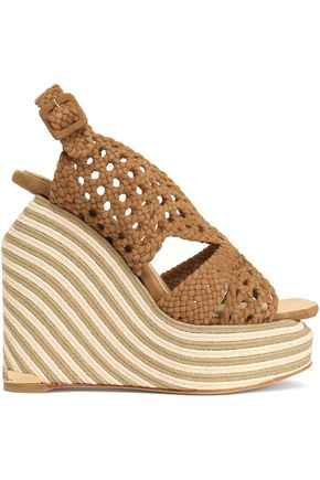 PALOMA BARCELÓ Woven suede espadrille wedge sandals