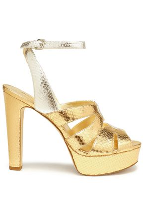 MICHAEL MICHAEL KORS Metallic snake-effect leather platform sandals